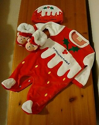 Christmas baby clothes bundle, babygrow booties and hat set 0-3m