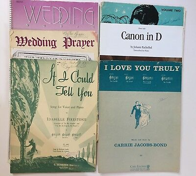 Vintage Wedding Sheet Music for Organ and Piano. Bridal Church Organist Lot of 7