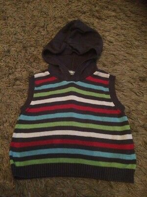 Hooded Tank Top Jumper Aged 12-18 Months- Striped