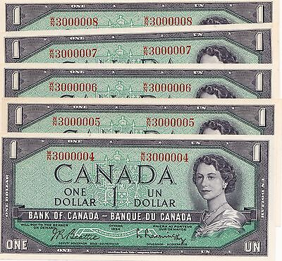 RARE PMG MS-64 ONE RADARCanadian  NOTE  PLUS 6 CONSECUTIVE UNGRADED (NO RADAR)