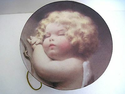 Hat Box With Picture Of Sleeping Angel On Lid