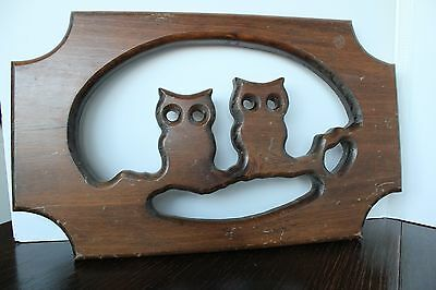 Vintage solid wood silhouette Owl carving wall hanging owls branch