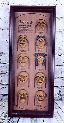 The Mask Play of Hahoe Byeolsin Exorcism 9 Masks Framed  8.25 x 19.75 x 1.5