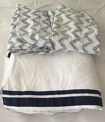 Pottery Barn Kids Boy Crib Sheets Skirt Blue White