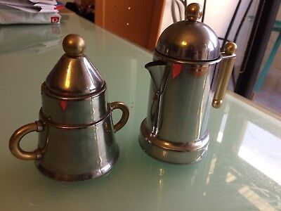 Stainless steel with brass detailing matching Sugar and Cream Set (Alessi like)