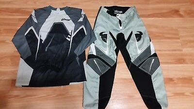 Thor MX Pants & Jersey Phase Gear - Gray Black White - Size Youth Large / 26