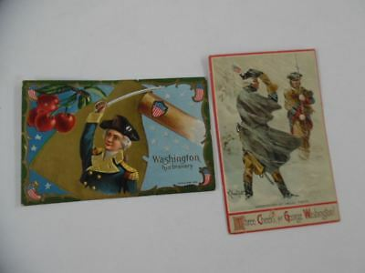 c.1909 George Washington Patriotic Postcard Lot of 2 Antique