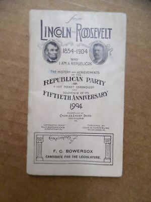1904 From Lincoln to Roosevelt Republican Party 50th Anniversary Souvenir Book