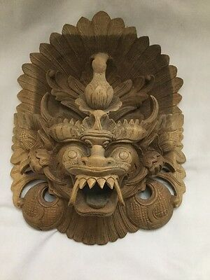 Vtg Bali Asian Wood Carved Wall Art Mask Dragon Lion 3D Signed Carving By PUSFA