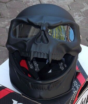 Motorcycle Helmet Skull Skeleton Death Ghost Rider BLACK DEATH Full face Visor