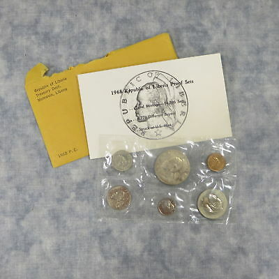 Complete Republic of Liberia 6 Coin Proof Set SEALED ENVELOPE! (U.S. Mint, 1968)
