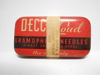 Vintage DECCA LOUD Gramaphone Needle Tin with Needles! (c)