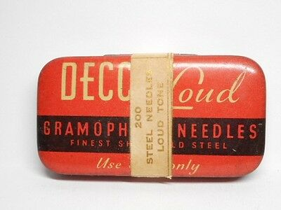Vintage DECCA LOUD Needle Tin with Needles! (d)