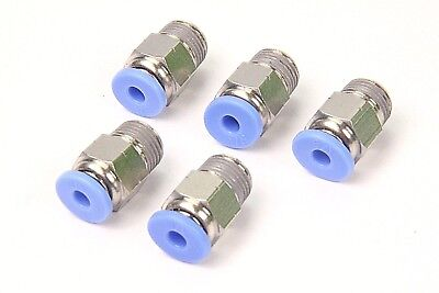 "5PCS Pneumatic Push in Connector 1/8"" OD Tube x 1/8"" Male NPT Thread Coupler"