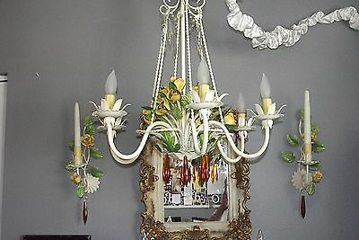Italian Tole Painted Rose 1 Arm Wall Sconces Candle PAIR Vintage