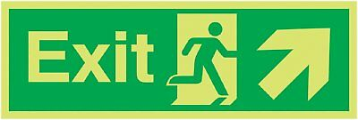 "Signs and Labels AMZFE011KRPH ""Exit Running Man Arrow Up Right"" Safe Condition x"