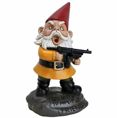 New Bigmouth Inc Gnome Angry Garden Statue 9.5 Inches Hand Painted Weatherproof