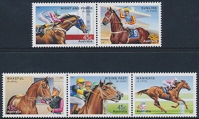 2002 Australia Champion Race Horses Set of 5 MNH