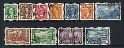Canada 1937-1938 Defins 11 Used Values Cat £45+