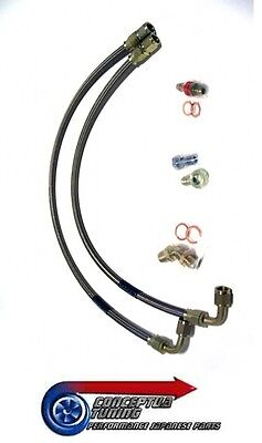 Stainless Braided GT3076R Turbo Water Feed Lines- R33 GTS-T Skyline RB25DET M14
