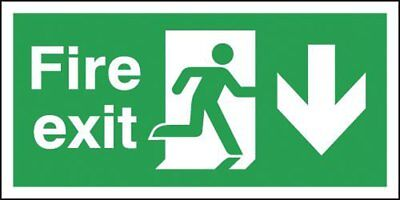 "Signs and Labels AMZFX04230R ""Fire Exit Running Man Arrow Down"" Safe Condition x"