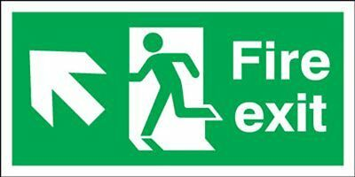 "Signs and Labels AMZFX04530R ""Fire Exit Running Man Arrow Up L"" Safe Condition x"