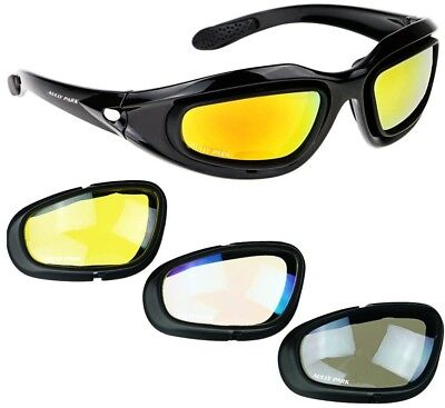 AULLY PARK Polarized Motorcycle Glasses Black Frame With 4 Lens Kit For Outdoor
