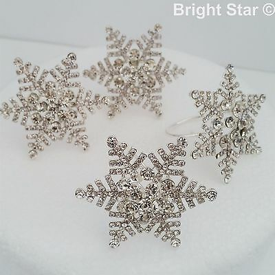 SNOWFLAKE NAPKIN RINGS DIAMANTE SET OF 6  Christmas Xmas festive LARGE