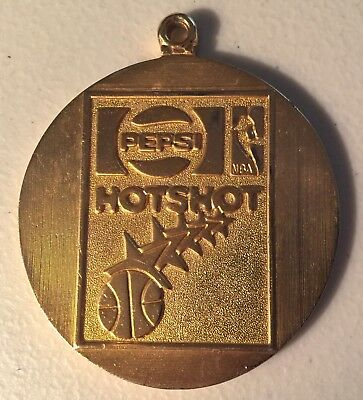 Pepsi Cola NBA Hotshot Medal Medallion~Pendant~Award~Gold Colored