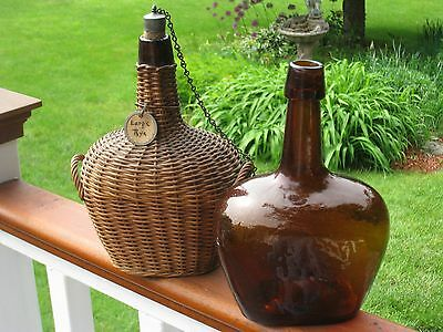 "Two Early ca.1850's New England 8.5"" Demijohns - Excellent!"