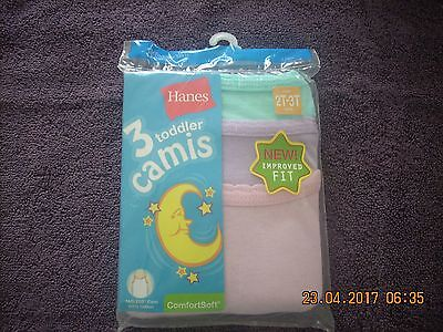 HANES  New Girls Camis Toddler 2T-3T 100% Cotton 3 Pack Tag-less in Three Colors