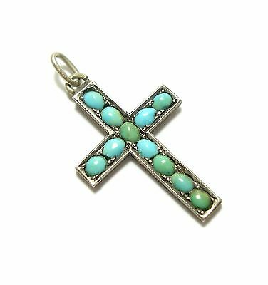 Beautiful Old Antique Victorian Silver Turquoise Crucifix Pendant Charm (C6)