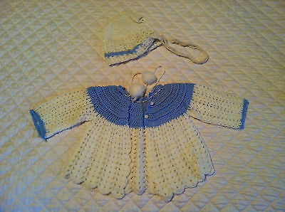 Vintage baby sweater and hat - matching