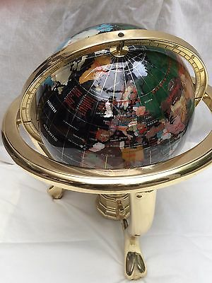 "MEDIUM WORLD GLOBE BLACK CLAW FOOT GOLD COLOUR METAL 14"" high gemstone inlay"