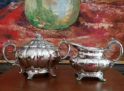 "Silver Plated ""Old English Melon"" Creamer Pitcher and Sugar Bowl"