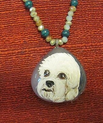 Dandie DinmonTerrier hand painted on small Onyx Agate pendant/bead/necklace