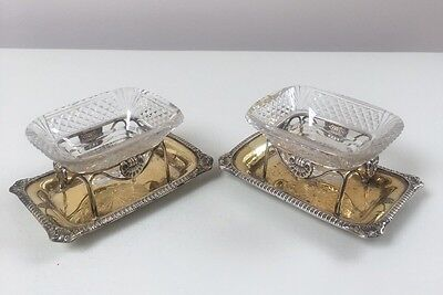 LOVELY PAIR SOLID SILVER & CUT GLASS SALT CELLARS, SHEFF 1812, 543.2g / 19.16oz