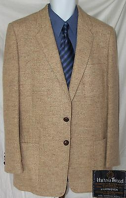 Harris Tweed Blazer Sport Coat Beige Size Men's Small (40) EUC Made in USA EUC
