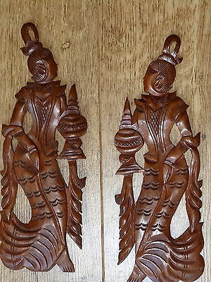 Vintage pair of carved wood figures wall plaques  **LOVELY**