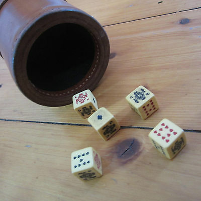 vintage Brown Leather liars Poker Dice Cup Ribbed Stitched Shaker w  5 Dice Set