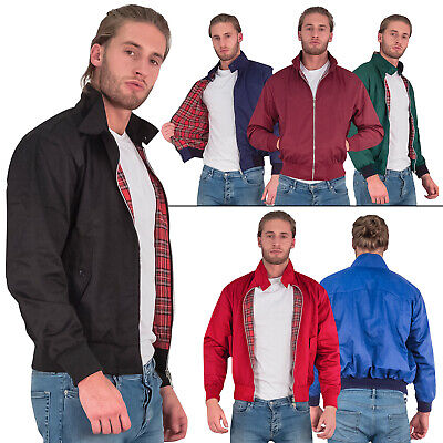 Mens Jacket Harrington Retro Scooter 1970 Vintage Classic Bomber Coat Plus Size