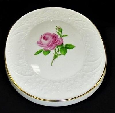 """Authentic Meissen Hand Painted Floral """"german Rose"""" Wall Plaque"""