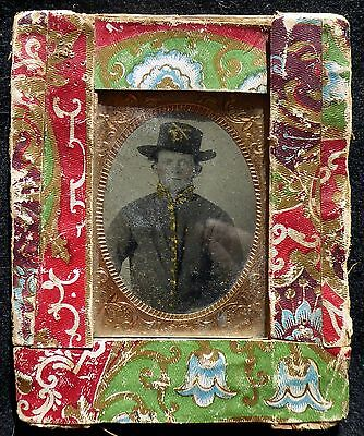 Antique Fantastic 1860's Fabric Framed Civil War Soldier Cavalry Tin Type ID