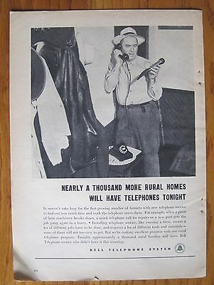"""Vintage  """"BELL TELEPHONE SYSTEM""""  Magazine Advertisement 1947 - WOW"""