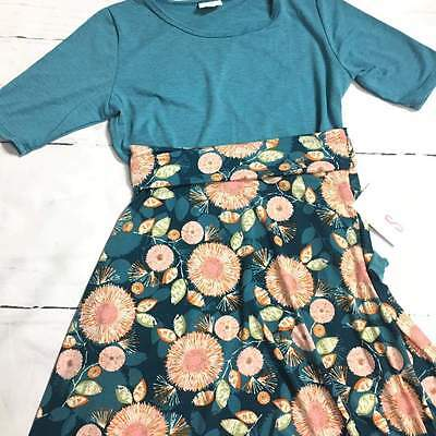 Lularoe Small Gigi Teal & Small Pink and Teal Azure skirt small outfit NWT!!