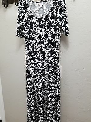 Lularoe Small Ana maxi dress NWOT, black white and grey stretchy material NEW
