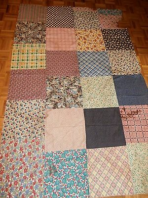 "Antique Vintage all Feed sack block cutter Quilt Top 58"" x 87"" to repair quilts"
