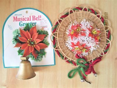 2 Vintage Wall Hangings Deluxe Musical Bell Greeter & Poinsettia Hanging