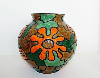 VTG Raymor Italy Vase Mid Century Modern Large Green Orange Flower Pop Art RARE