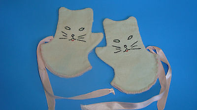 Adorable Vintage Kitty Cat Infant Children Doll  Mittens Gloves Embroidered Pink